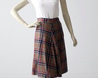 1950s plaid skirt, pleated wool skirt