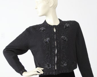 vintage beaded cardigan sweater, black angora cardi