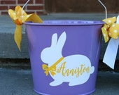 PURPLE -  5 QT Tin Bucket- Personalized - Halloween Candy Bucket Easter