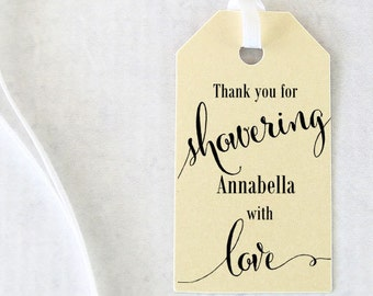 Bridal Shower Favor Tags, Showering with Love Tags, Bridal Shower Gift Tags, Bath Salts Tag, Thank you, Soap Tags - Set of 25 (SMGT - CAN)