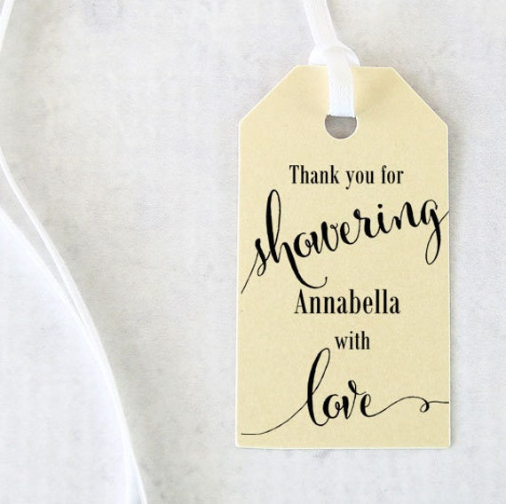 Bridal Shower Favor Tags, Showering with Love Tags, Bridal Shower Gift Tags, Bath Salts Tag, Thank you, Soap Tags - 1.25 x 2.25 in Set of 25