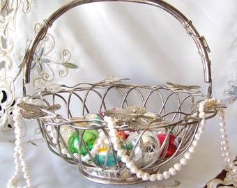 Vintage Basket Godinger Basket Silver Plate Basket Wedding Decor Shabby Cottage Vintage Wedding 1980s