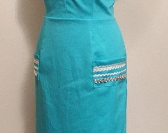 Vintage 1950s inspired Mexican style turquoise wiggle dress S M rockabilly VLV