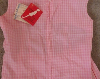 Vintage 1960s Sweet pink gingham two piece skirt set-Mint with tags