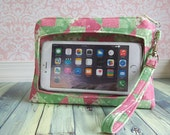 iPhone 6 plus wristlet, ready to ship, large smartphone wristlet wallet, Extra Large Touch Screen Wristlet, Note, LG intuition,  pink, green