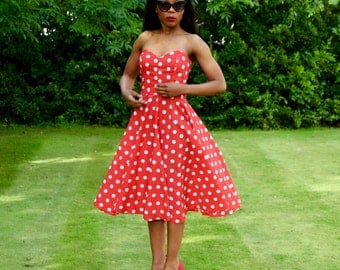 Red Polka Dot Rockabilly Swing Dress -  As Seen in Wedding Ideas Ideas Magazine