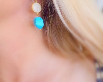 white blue howlite earrings - gold plated brass bezels and gold plated sterling silver wires -dangle earrings