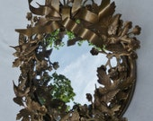 Wreath Wall Mirror by Petites Choses. Small Vintage Brass Gold Metal Wreath. Leaves Flowers Birds Hummingbirds. Cottage, French Decor.