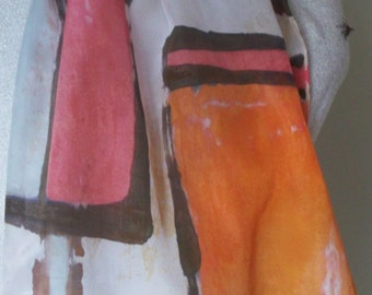 Silk Scarf Hand Painted Geometric Spring 2016