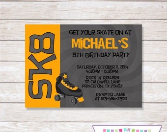 ROLLER SKATING ORANGE Birthday Party Invitation Boy - Printable