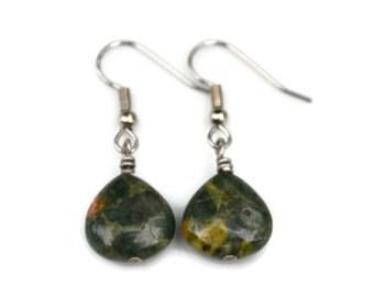 Rainforest Jasper Gemstones . Rhyolite . Earrings