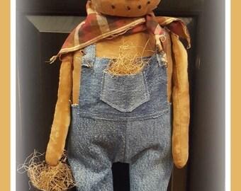 Primitive pumpkin, primitive pumpkin man, standing pumpkin man, primitive scarecrow, handmade pumpkin man