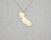 Gold California State Necklace - I Heart San Francisco Necklace - Gold California Necklace - Gold California Pendant