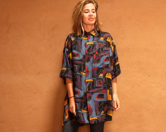 vintage 80s 90s silky WILD abstract SEINFELD OVERSIZE slouchy button up