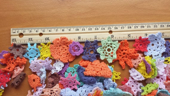 30 Colorful Mix of Mini Hand Dyed Crochet Doilies, Very Small Crochet Flowers for Crafts, Mini Flower Appliques