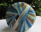 3 skeins of Ribbon Yarn in blues and browns by Lamer Dolce