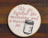 Valentine's Day gift 8 inch embroidery in wooden hoop, ready to hang funny sign Boyfriend Girlfriend Husband Wife gift cotton anniversary
