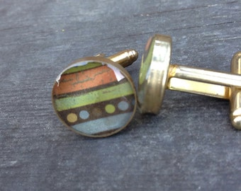 Geometric Resin Cuff Links Gold Plated