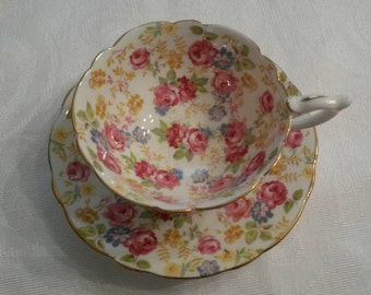 "Royal Stafford Tea Cup and Saucer; Chintz Pattern Titled, ""June Roses"" circa 1950's   DS"