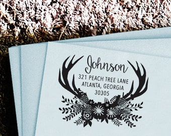 Wedding Custom Stationery Personalized Custom Return Address Rubber Stamp Self Inking Stamp Stamper Deer Antlers Flowers Home Sweet Home