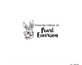 Animal Classic - Personalized Custom Bookplate Rubber Stamp or Self Inking - Bunny Rabbit Reading Glasses Library