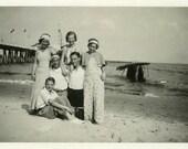 "Vintage Photo ""Ocean Days"" Group Beach Snapshot Photo Old Antique Photo Black & White Photograph Found Paper Ephemera Vernacular - 128"