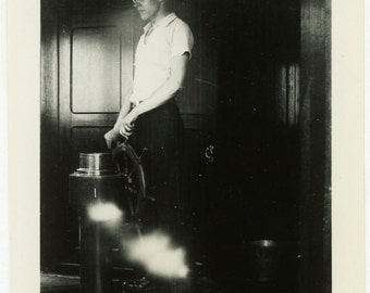 "Vintage Photo ""Captain of His Dreams"" Steering Ship Snapshot Photo Old Photo Black & White Photograph Found Paper Ephemera Vernacular - 111"