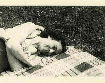 "Vintage Photo ""Picnic Cutie"" Cute Woman Lying Down Snapshot Photo Old Antique Black & White Photograph Found Paper Ephemera Vernacular - 62"