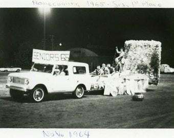 "Vintage Photo ""Class of '65"" Homecoming Float Truck School Snapshot Old Photo Black & White Photograph Found Paper Ephemera Vernacular - 145"