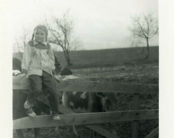 "Vintage Photo ""Watching the Cows"" Girl Children Fence Snapshot Antique Photo Black & White Photograph Found Paper Ephemera Vernacular - 29"