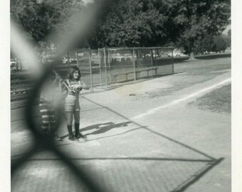 "Vintage Photo ""Little Softball Star"" Snapshot Antique Photo Black & White Photograph Found Paper Ephemera Vernacular - 187"