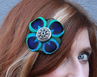 Vintage Button Hairclip Backed with Green and Blue Feathers