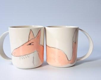 FOX mugs, unique coffee mugs, forest animal mug, large coffee mug,  mugs for men, funny animal mug, handmade coffee mug, ceramic mug