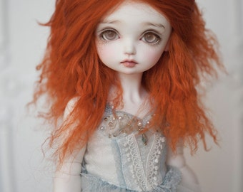1/3 Size Fire Orange Tibetan Mohair Wavy Wig for Volks BJD SD and Pullip Dolls