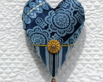 Indigo and gold brocade heart ornament with Victorian button, Valentine for him