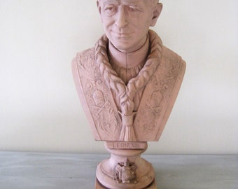 Antique French Rare Porcelain Bust of Pope Leon X111 by H. Ardant & Cie Limoges Modeled by the Sculptor Paul Duboy 1878