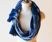 indigo hand painted scarf, cotton scarves, long skinny infinity