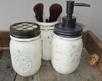Distressed Painted Mason Jars Bathroom Set Soap Dispenser