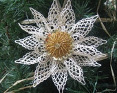 Beige Lace Snowflake, Christmas Tree Ornament, Sequin and Beaded Gold Center, Winter Snowflake, Tree Decorations, Traditional SnowNoseCrafts