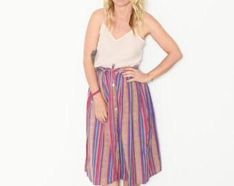 Vintage Striped Midid Skirt , India Cotton Skirt