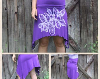 Organic Screen Orchid Printed Pixie Skirt Purple Cotton Soy Spandex Jersey