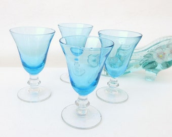 Vintage Barware | Blue Glasses | Sherry Glasses | Turquoise Coupe Glasses | Cordial Glasses | Set of 4