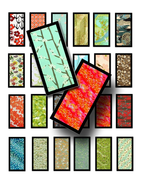 Framed Japanese papers digital download-Digital collage sheet- 1 x 2 inch-Printable domino pendant-Tags-Scrapbooking- BUY 3 get 1 FREE