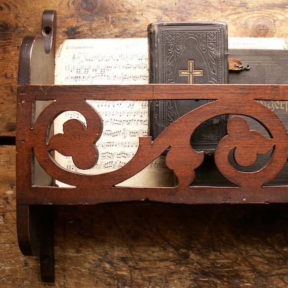 Antique Scroll Work: Vintage Ornate Scroll-work Wood Church Pew Rack Last One