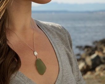 Olive Green Sea Glass Necklace in Sterling Silver