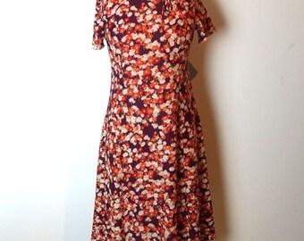 ON SALE Vintage original 1970s orange and purple floral nylon midi dress