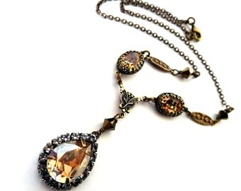 Champagne rhinestone pendant necklace, Austrian crystal, antiqued brass ornate details, golden crystal, vintage style, gold brown jewelry