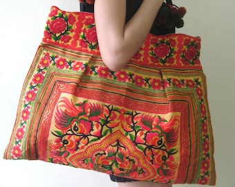 Hmong Bag Ethnic Old Vintage Style Tote Thai Shoulder Bag