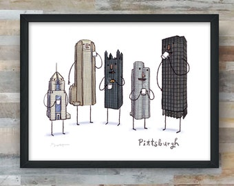 Pittsburgh Skyline Coffee Break- art print