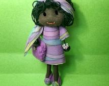 Black Doll Pin Afro American Miniature Handmade Chiffon Dress Felt Bag Felt Shoes Chiffon Headscarf Black Rag Doll Miniature Dollhouse Doll